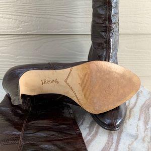 J.Renee Shoes - J. Renee Solvay Brown Eel Skin Knee High Boots